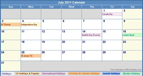 july 2011 calendar with holidays as picture