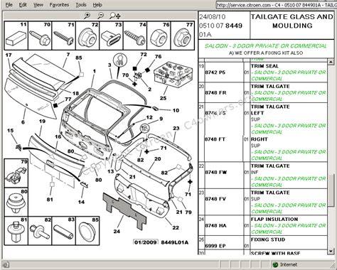 citroen c4 tailgate wiring diagram repair wiring scheme