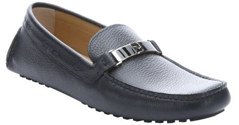 fendi loafers mens fendi blue leather logo driving loafers in blue for