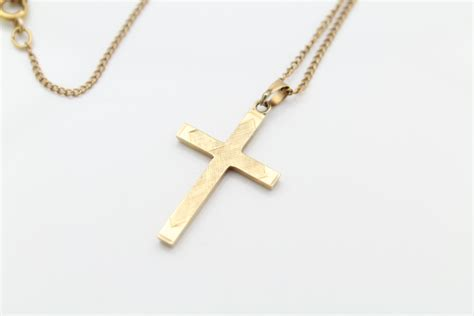 vintage solid 14k gold cross pendant lightweight w free g f