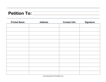 Large Print Petition Template Free Template For Petition Signatures