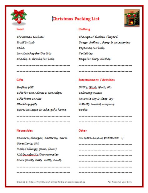 List Of Overnight by Packing List Free Printable From Overwhelmed To Organized Packing List