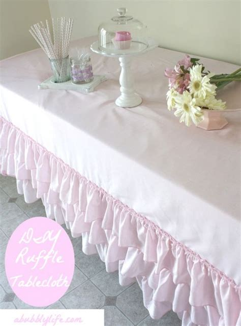 table skirts and more diy how to make a no sew ruffle tablecloth for less than