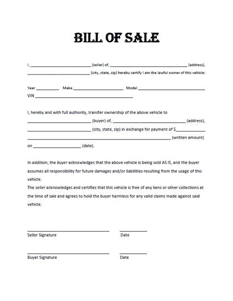 bill of sale sle template free bill of sale template exles for selling personal