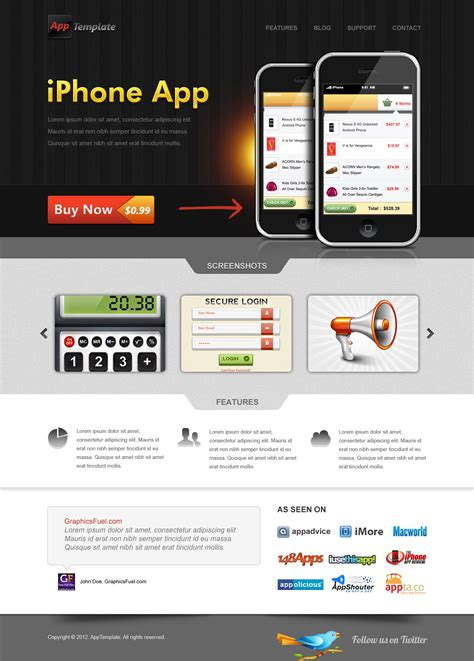apps themes psd iphone app website template psd graphicsfuel