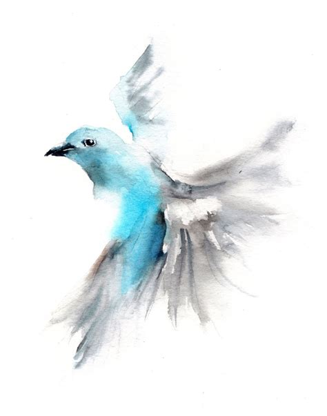 watercolor tattoo zum aufkleben print of flying blue tanager watercolor painting