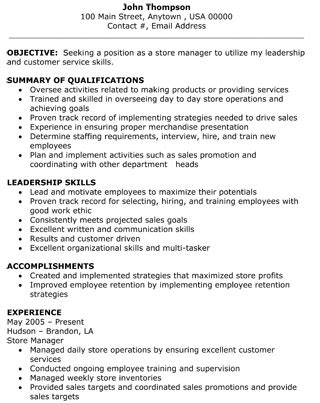 Resume Summary Exles Retail Manager Resume Retail Sales