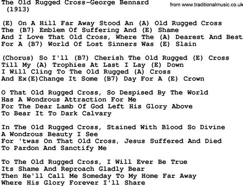 lyrics for the rugged cross country the rugged cross george bennard lyrics and chords