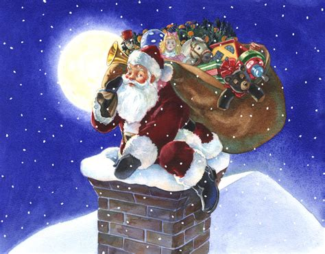 santa stuck up in the chimney wallpapers wallpapers high
