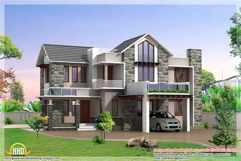 Foursquare Floor Plans by 3 Beautiful Modern Home Elevations Kerala Home Design