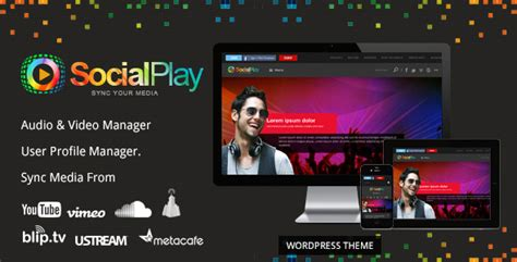 wordpress themes for live tv socialplay media sharing wordpress theme by themebazaar