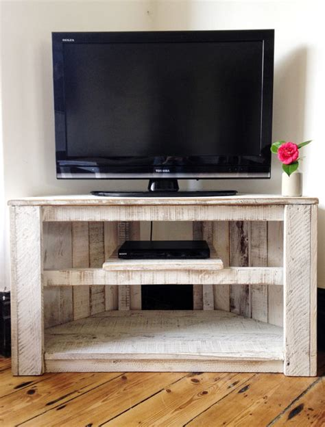 Handmade Tv Cabinets - handmade rustic corner table tv stand with shelf reclaimed