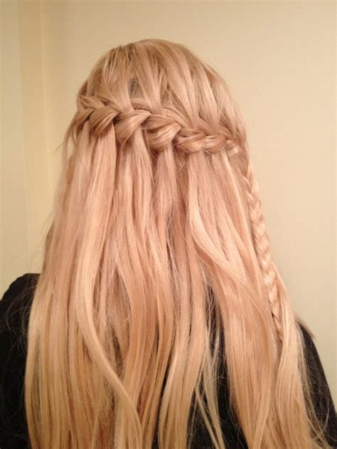 hairstyles how to do a waterfall waterfall braid with spiral curls prom hairstyles cute