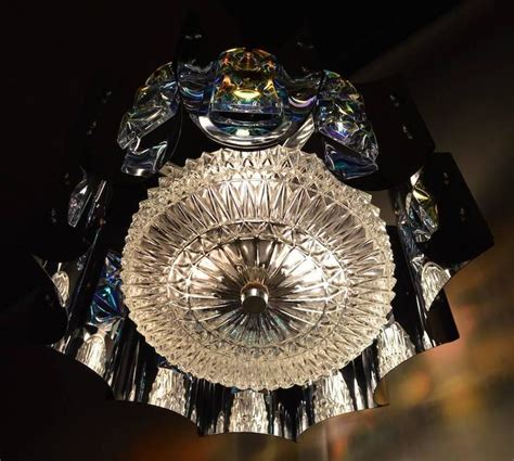 Bright Chandelier Bright Chrome And Faceted Iridized Glass Chandelier For Sale At 1stdibs