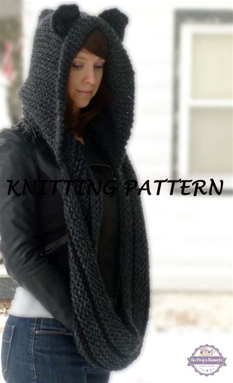hooded cowl knit pattern hooded cowl knitting pattern cat cowl knit pattern cat