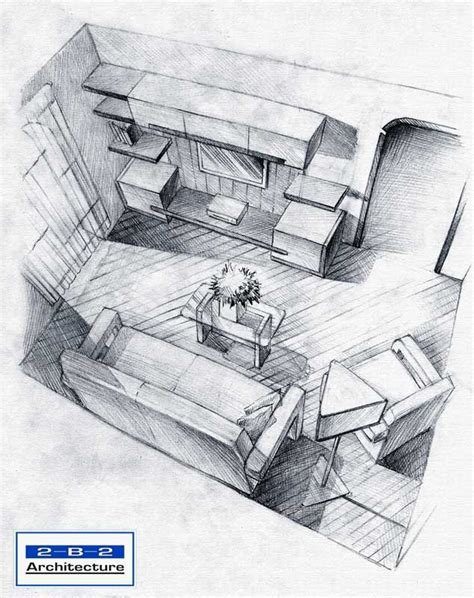 interior sketch using simple pencil lines to show shading this again works well to show layout