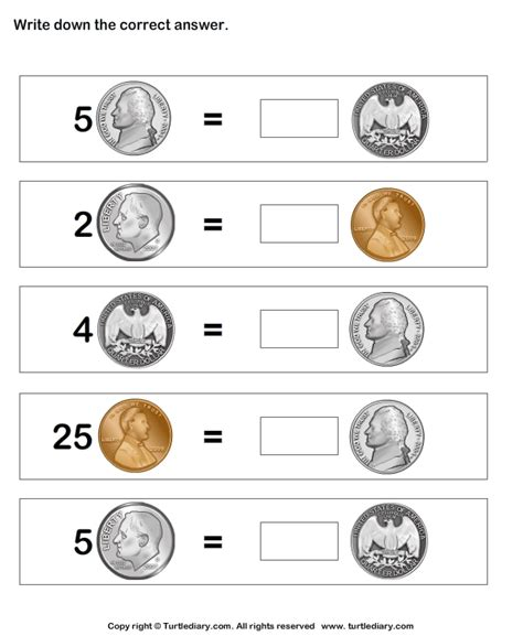 Coin Values Worksheet by Equal Values Of Coins With Different Numbers Worksheet
