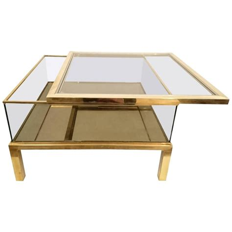 sliding top coffee table glass and brass for sale at 1stdibs