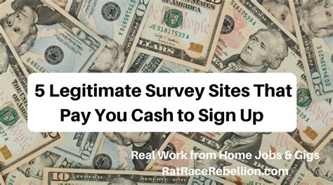 Survey That Pay Cash Now - these 5 survey sites pay you cash just to sign up real work from home jobs by rat