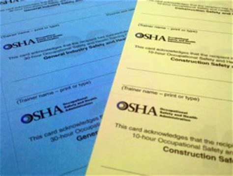 osha 10 card template osha4you gt outreach program gt outreach card request