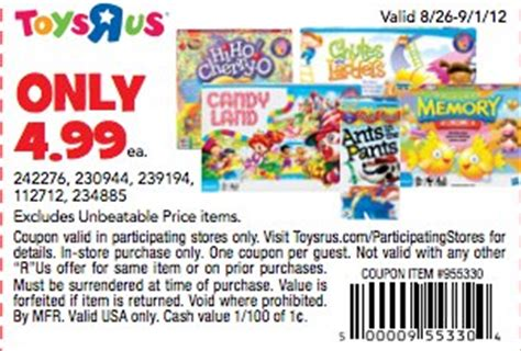 printable board game coupons candy land chutes and ladders only 3 49 at toys r us