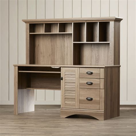 Storage Desk With Hutch Beachcrest Home Pinellas Computer Desk With Hutch 3 Storage Drawers Reviews Wayfair