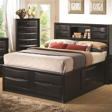 Double Bed With Bookcase Headboard Black Wooden Bed With Four Drawers Also Shelves On The