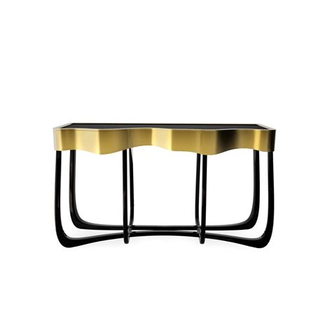 black and gold table luxury black and gold brass console table