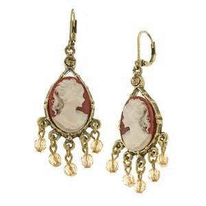 Black Crystal Chandelier Earrings 1928 Jewelry Vintage Escapade Cameo Chandelier Earrings