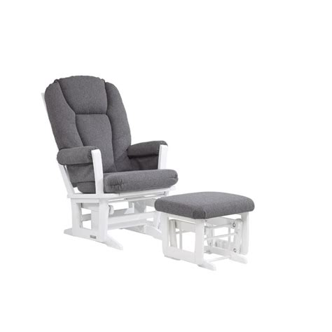 gray and white glider and ottoman dutailier glider and ottoman set in dark gray and white