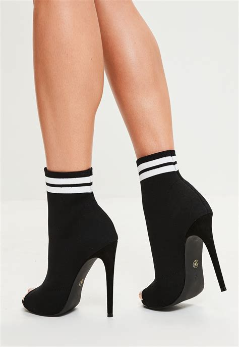 lyst missguided black peep toe sock ankle boots in black