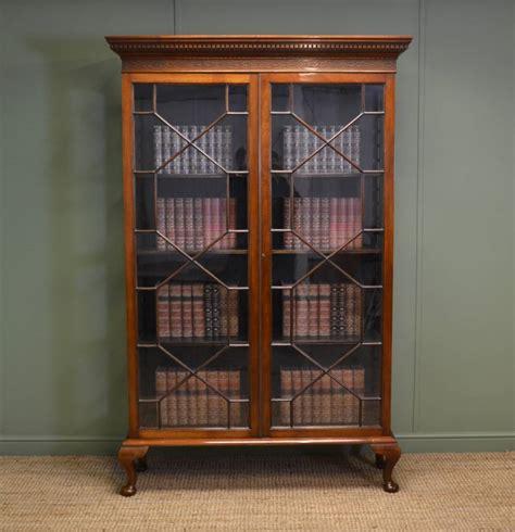 Tall Victorian Walnut Antique Glazed Bookcase   Antiques World