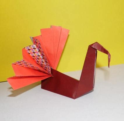 Easy Thanksgiving Origami - folded paper turkey lovetoknow