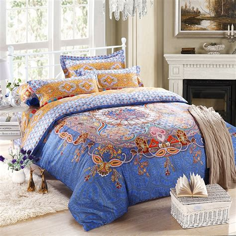 blue and yellow bedding sets blue and yellow southwestern bohemian tribal print 100