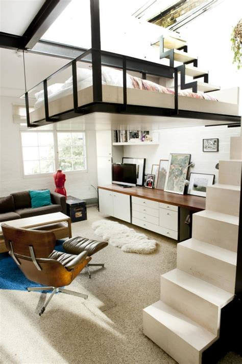 loft beds for studio apartments london studio apartment with suspended bed and rooftop