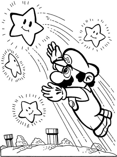 mario star coloring pages super mario brothers reach the stars coloring page color