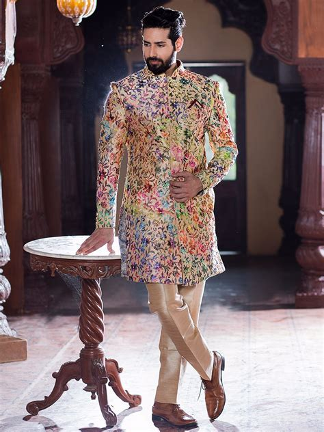 Cream Silk Wedding Wear Indo Western   Buy Mens Wedding