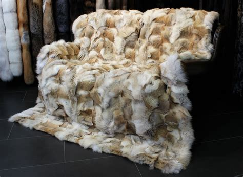 Fur Quilt by 1232 Coyote Fur Blanket Genuine Throw Real Plaid Quilt