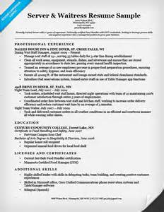 Waiter Objective Resume by Server Waitress Resume Sle Resume Companion