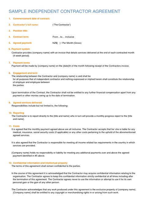 Free Contractor Agreement Template Independent Contractor Agreement Sample By Sburnet2
