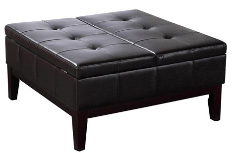 black ottoman coffee table furniture big black leather tufted square ottoman coffee