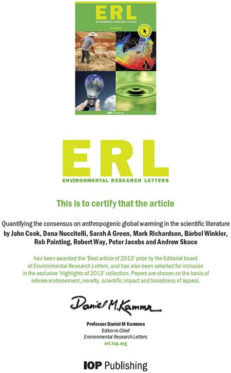 environmental research letters skeptical science consensus paper voted erl s best article 1205