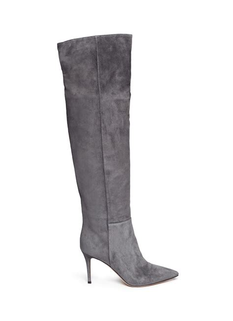 gianvito thigh high suede boots in gray grey lyst