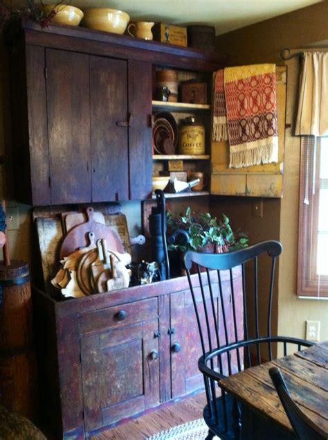red cupboard  dry sink primitive furniture primitive