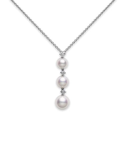 pearl pendant necklace three pearl drop pendant