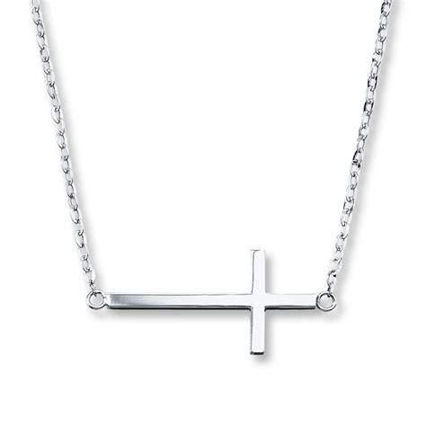 sideways cross necklace sterling silver