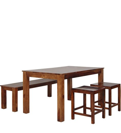 athena four seater dining table set in provincial teak