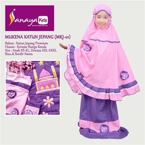 Mukena Hello Blue Renda Sanaya Collection Mukena Anak Mukena Terusan