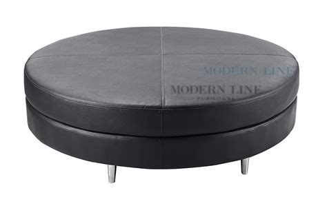 black round leather ottoman modern line furniture commercial furniture custom made