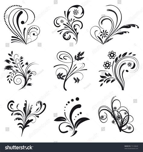 floral design elements vector set set of floral design elements vector illustration